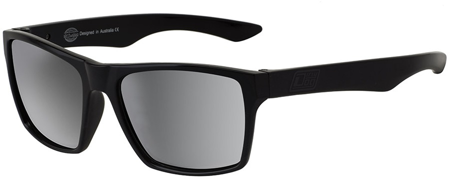 Dirty Dog Vendetta Silver Mirror Polarized Sunglasses, L Satin Black