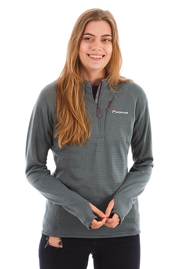 Montane Power Up Half-Zip Women's Pullover Fleece Top, M Stratus Grey