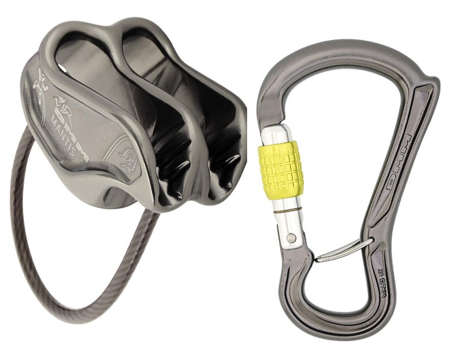 DMM Mantis & Ceros Screwgate Rock Climbing Belay Device Set - BLT