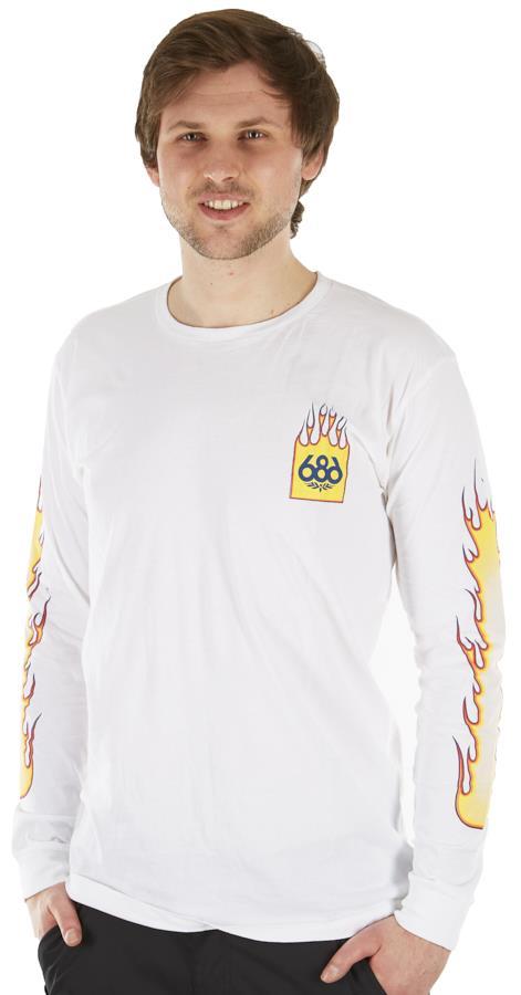 686 Flame 2 Men's Long Sleeve Pullover T-Shirt, L White