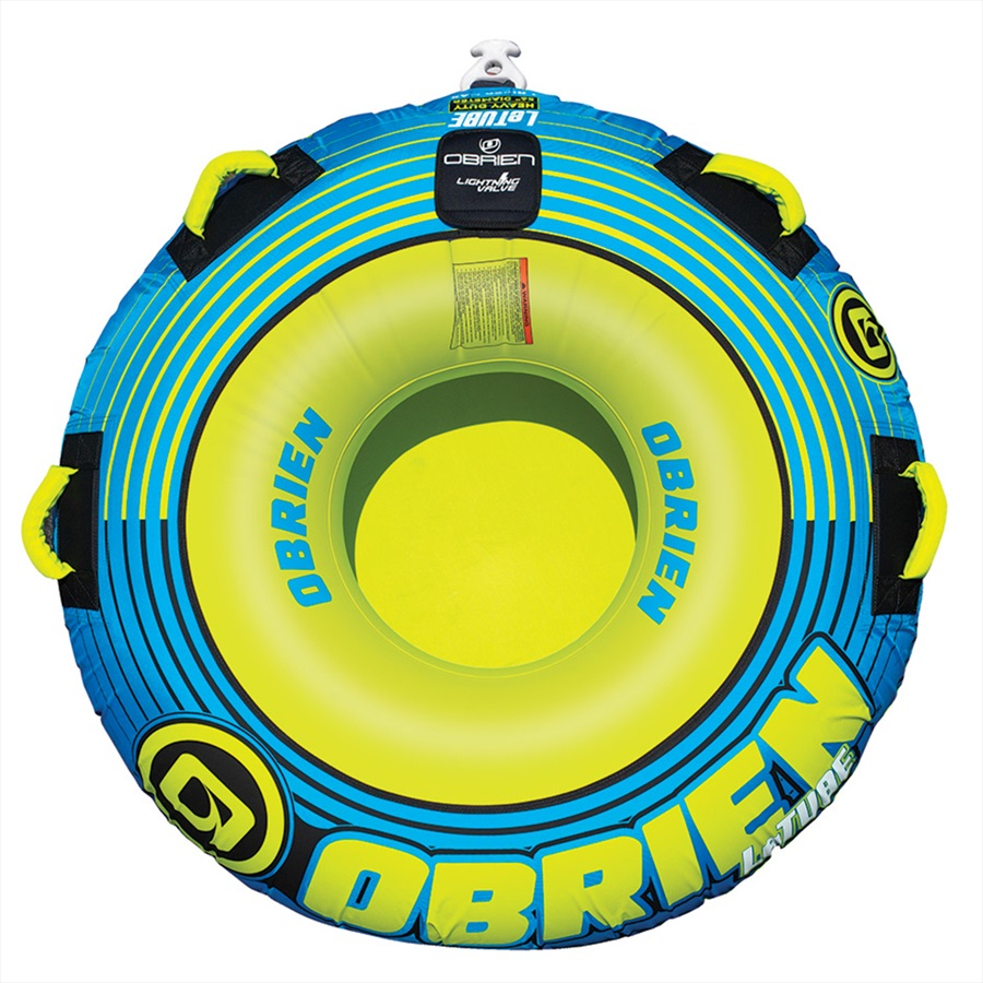 O'Brien Le Tube Round Towable Inflatable Tube, 1 Rider Blue Green 2021