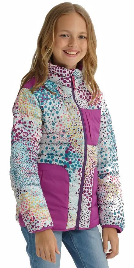 Burton Girls Evergreen Down Jacket, M Stout White Dots/Grapeseed