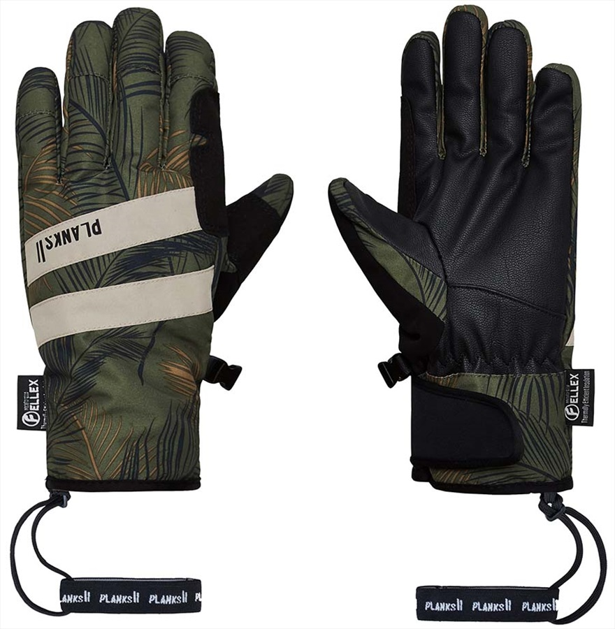 Planks Peacemaker Insulated Ski/Snowboard Gloves, S Jungle Palm