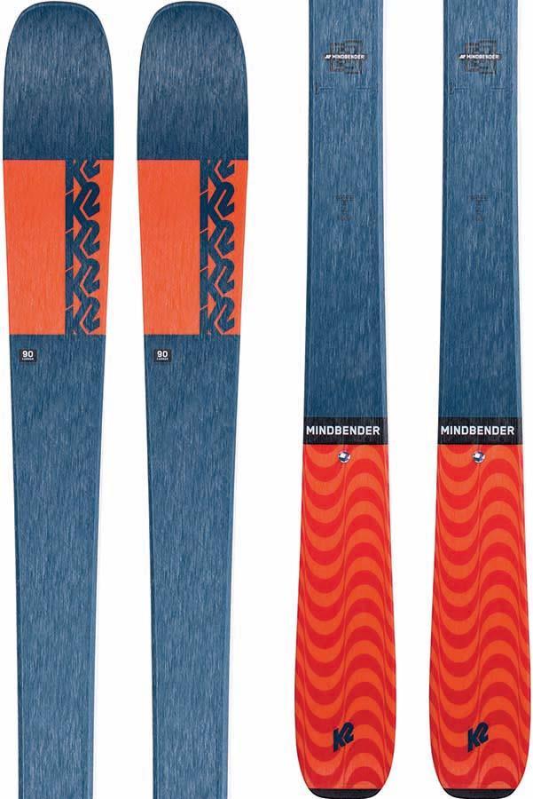 K2 Mindbender 90C Skis, 177cm Blue/Orange, Ski Only, 2021