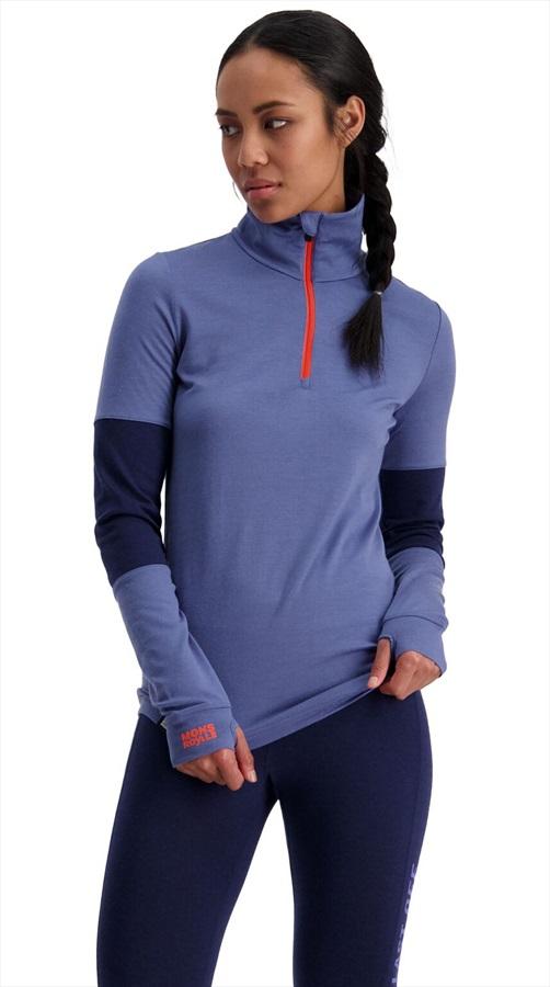 Mons Royale Cornice Half Zip Merino Thermal Top, L Blue Velvet