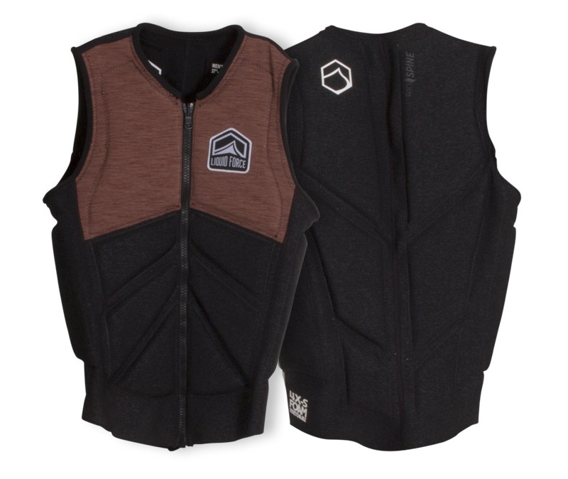 Liquid Force Z Cardigan Zip Wakeboard Impact Vest, S Coal Tan