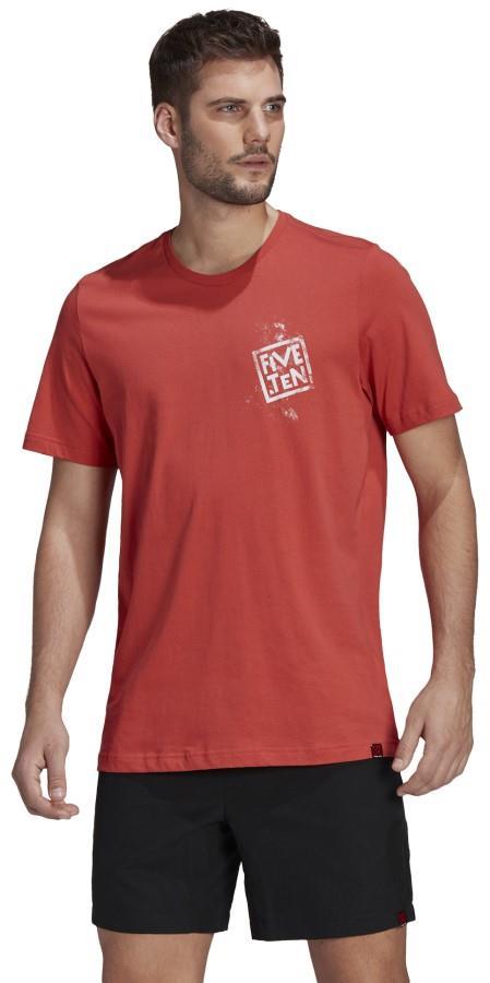Adidas Five Ten Stealth Cat Logo Cotton T-shirt, M Crew Red