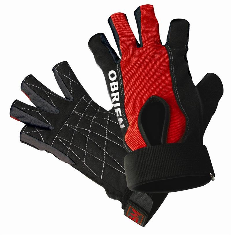 O'Brien Ski Skin 3/4 Waterski Gloves, XL Black Red 2020