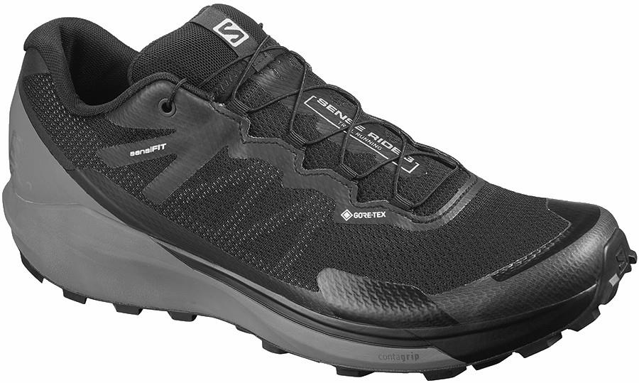 Salomon Sense Ride 3 GTX Invisible Fit Running Shoe UK 8 Black