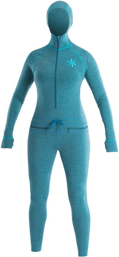 Airblaster Womens Merino Ninja Thermal Base Layer Suit, S Ocean