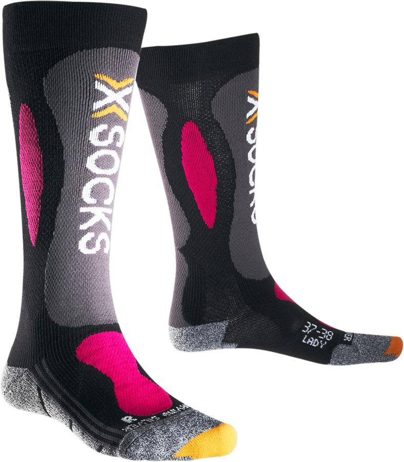 X-Bionic Ski Carving Silver Women's Ski Socks, UK 2.5-3.5