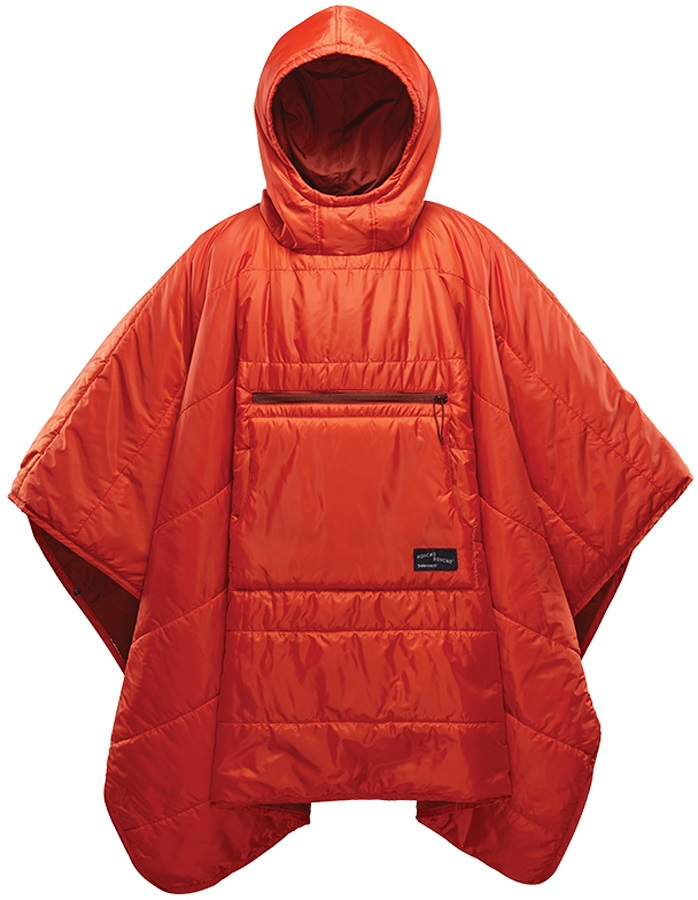 ThermaRest Honcho Poncho Hooded Thermal Camping Blanket, Tomato