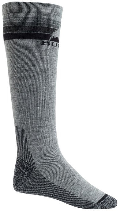 Burton Emblem Midweight Ski/Snowboard Socks, L Grey Heather