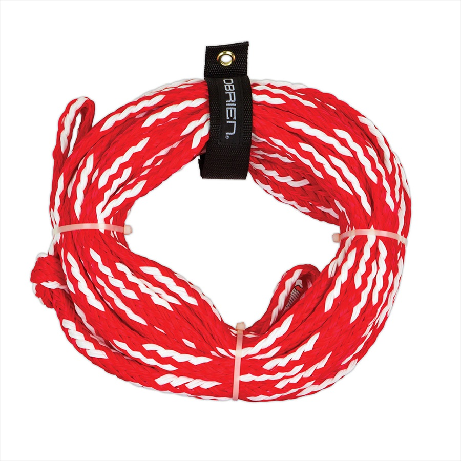 O'Brien Heavy Duty Towable Tube Rope, For 4 Rider Tubes Red