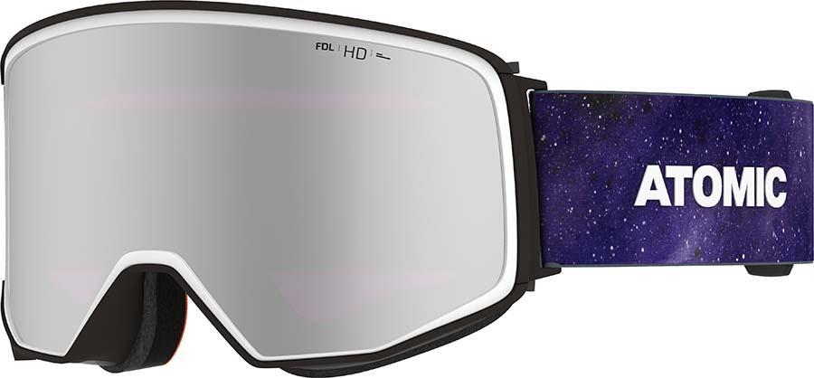 Atomic Four Q HD Silver Stereo Snowboard/Ski Goggles, L Space Chaos