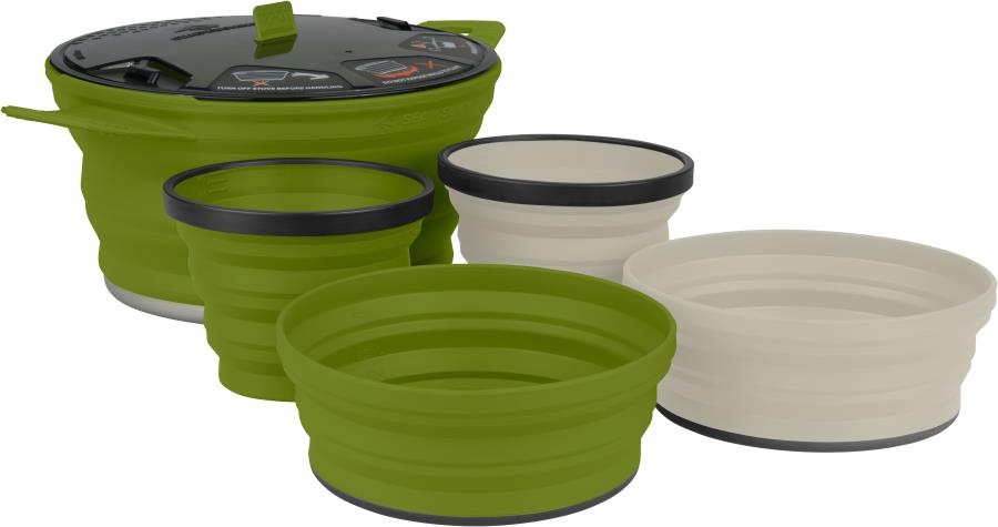 Sea to Summit X-Set 31 Cooking Set Camping Cookware, 5pc Olive/Sand
