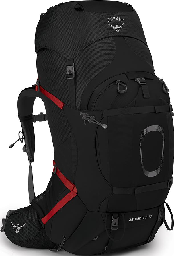 Osprey Aether Plus 70 S/M Expedition Backpack, 68L Black