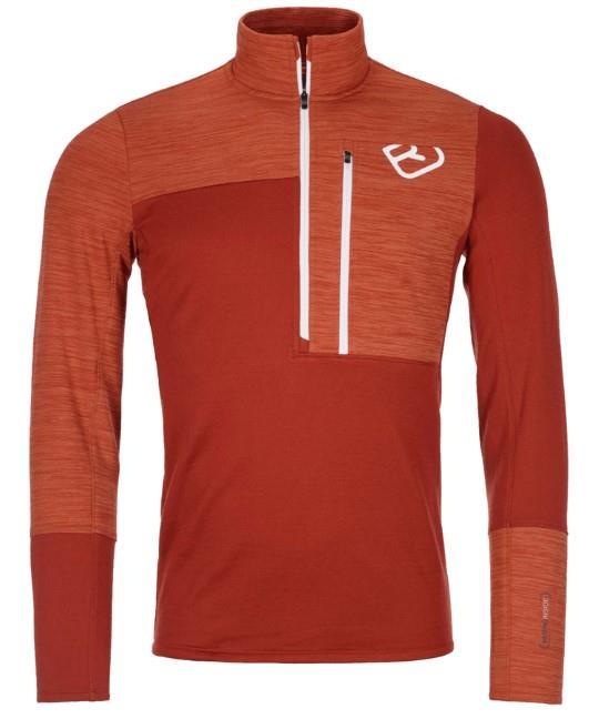 Ortovox Fleece Light Zip Neck Fleece, XL Clay Orange
