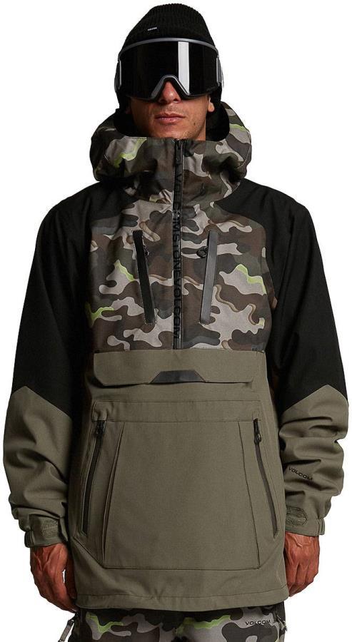 Volcom Brighton Pullover Ski & Snowboard Jacket, S Army