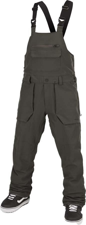 Volcom Roan Bib Overall Snowboard/Ski Pants, XL Black Green
