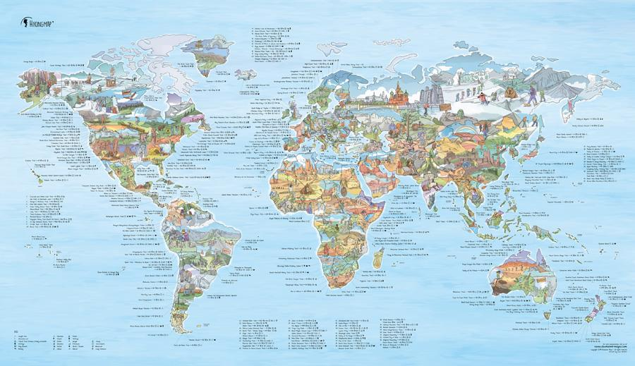 Awesome Maps Hiking Map Trekking Trails World Wall Map