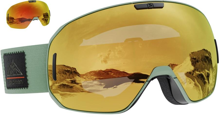 Salomon S/Max Solar Bronze Snowboard/Ski Goggles, M/L Oil Green