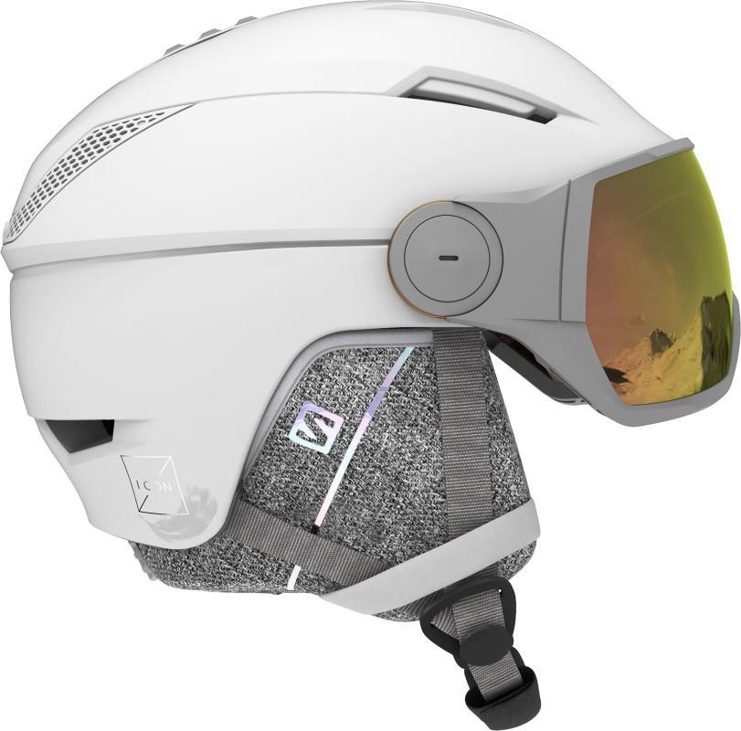 Salomon Icon2 Visor Photo Women's Snowboard/Ski Helmet S White/AW Red