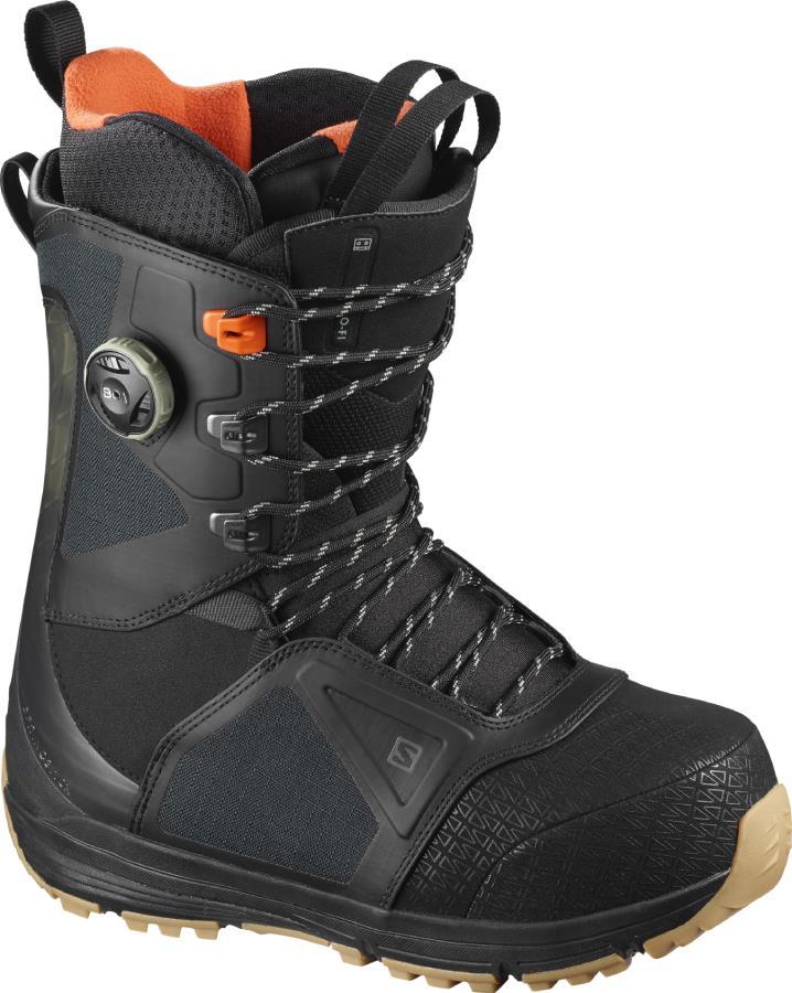 Salomon Lo Fi BOA Mens Snowboard Boot, UK 8.5 Black / Red Orange 2021
