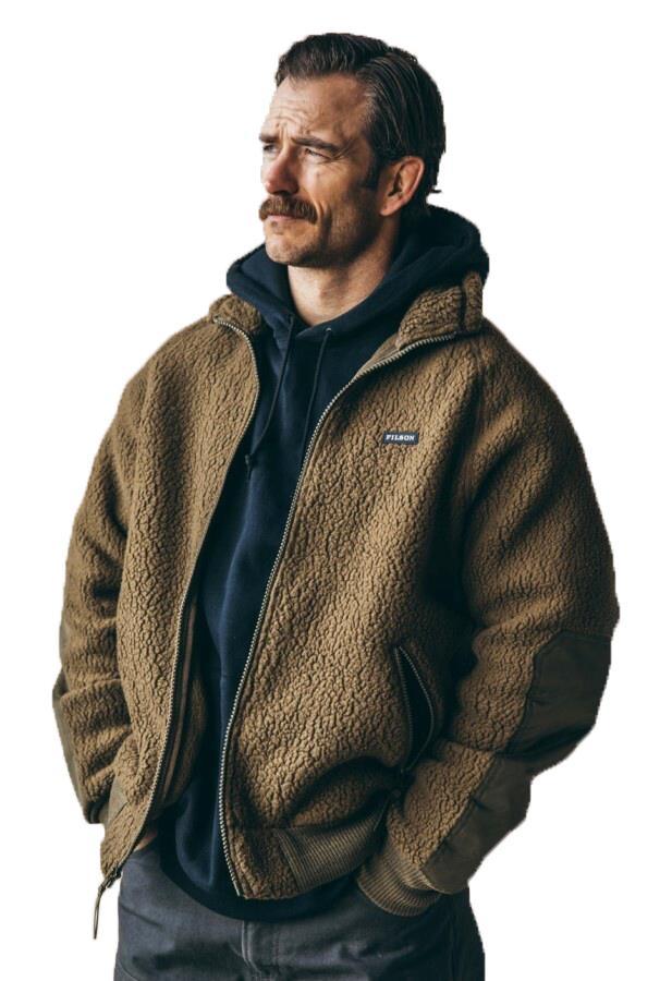 Filson Sherpa Full Zip Fleece Jacket, M Marsh Olive