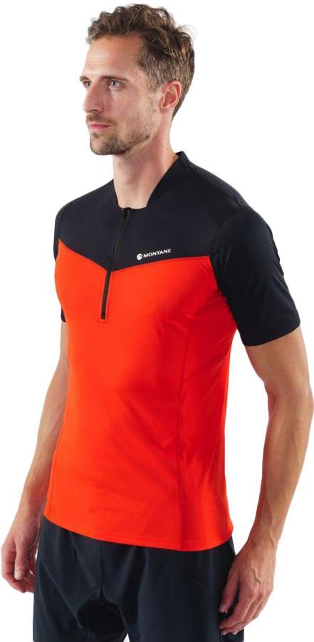 Montane Dragon Zip Technical Short Sleeve T-shirt, L Flag Red