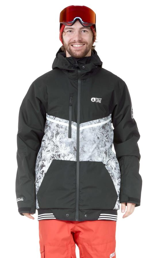 Picture Panel Print Ski/Snowboard Jacket, L Drone Forest