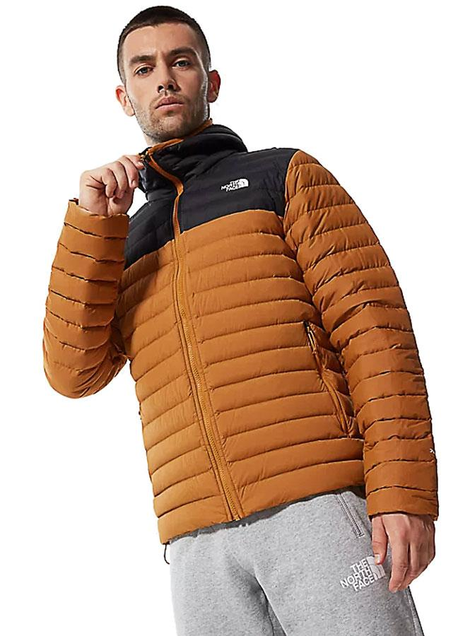 North Face Stretch Down Insulated Men's Hooded Jacket S Tan/Black