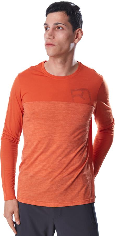 Ortovox 150 Cool Logo Men's LS Merino T-shirt, XL Desert Orange