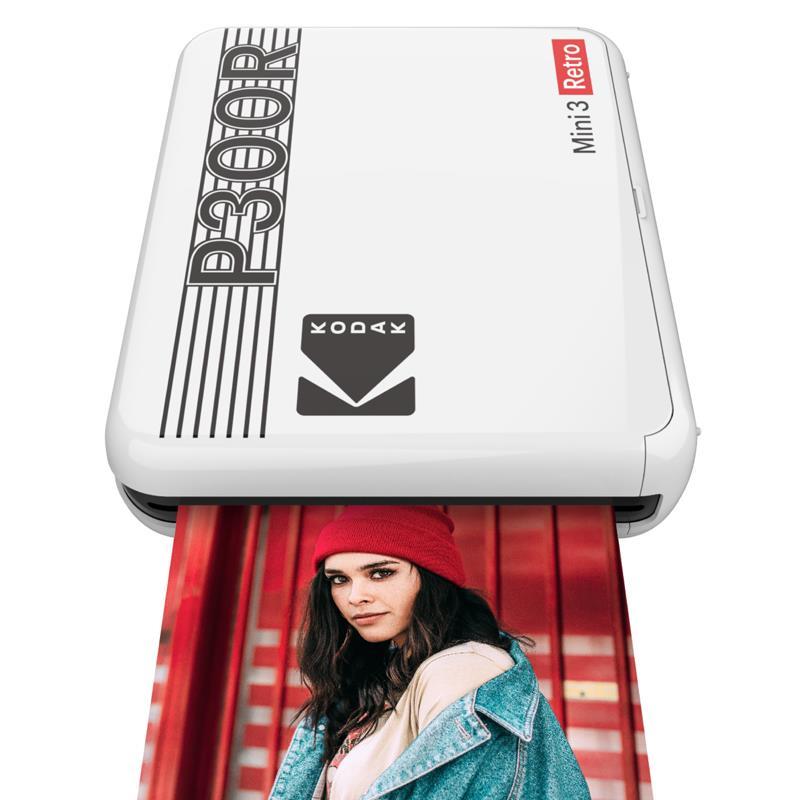 """Kodak Mini 3 Retro Portable Photo Printer, 3 x 3"""" Photos White"""