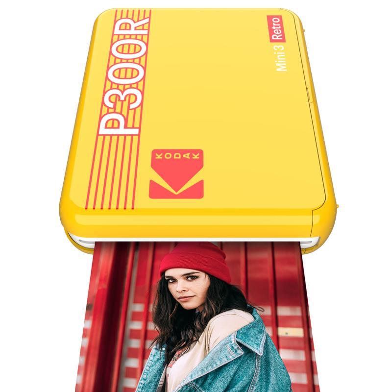 """Kodak Mini 3 Retro Portable Photo Printer, 3 x 3"""" Photos Yellow"""