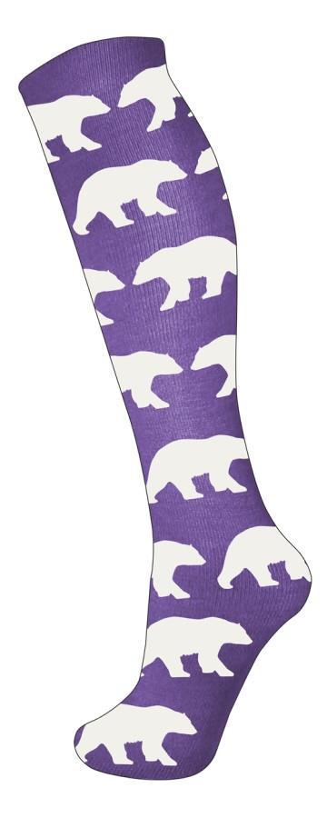 Manbi Pattern Ski/Snowboard Tube Socks, UK 4-11 Polar Bears Purple