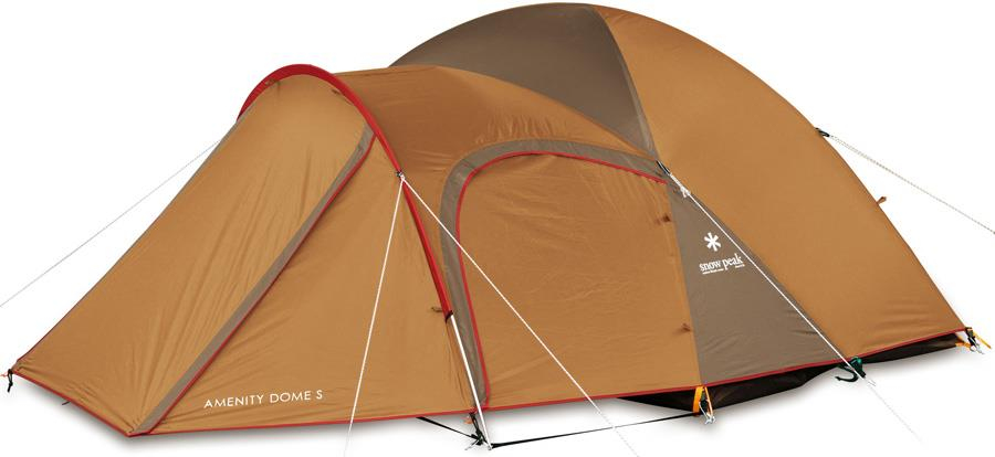 Snow Peak Amenity Dome Camping Tent, 2 Man Yellow/Brown/Red