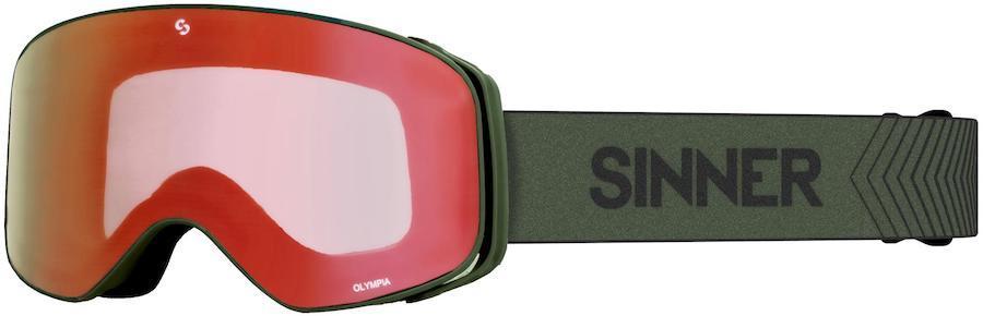 Sinner Olympia Full Red Ski/Snowboard Goggles, L Matte Moss Green