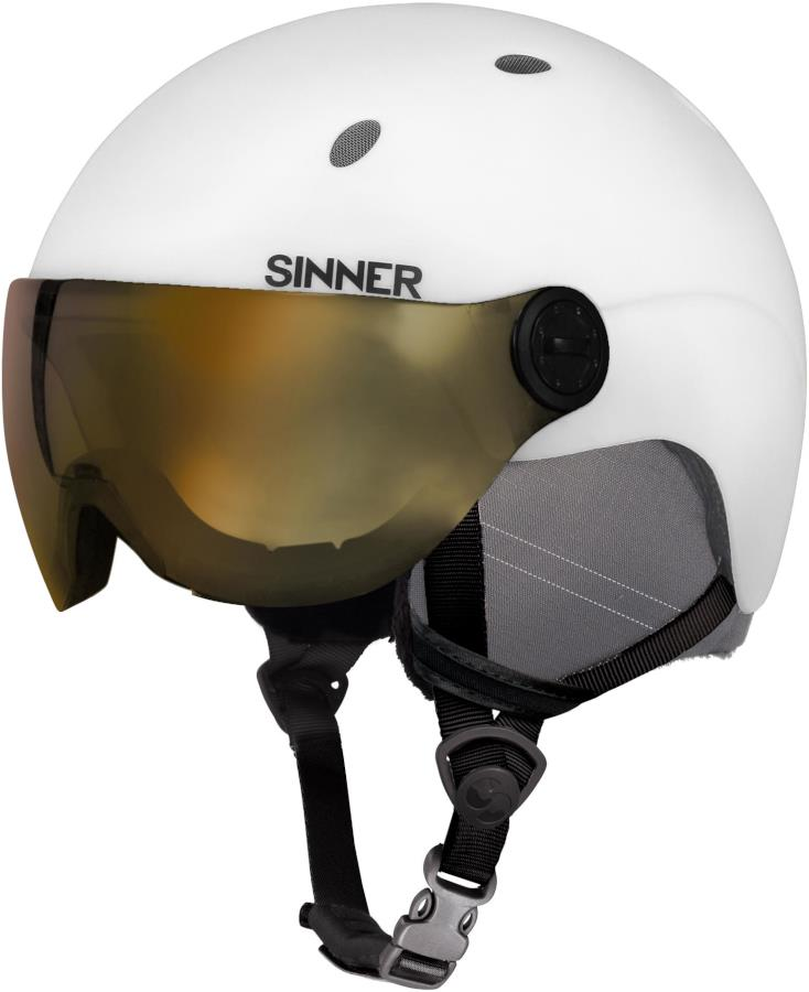 Sinner Titan Visor Gold Mirror Ski/Snowboard Helmet M Matte White
