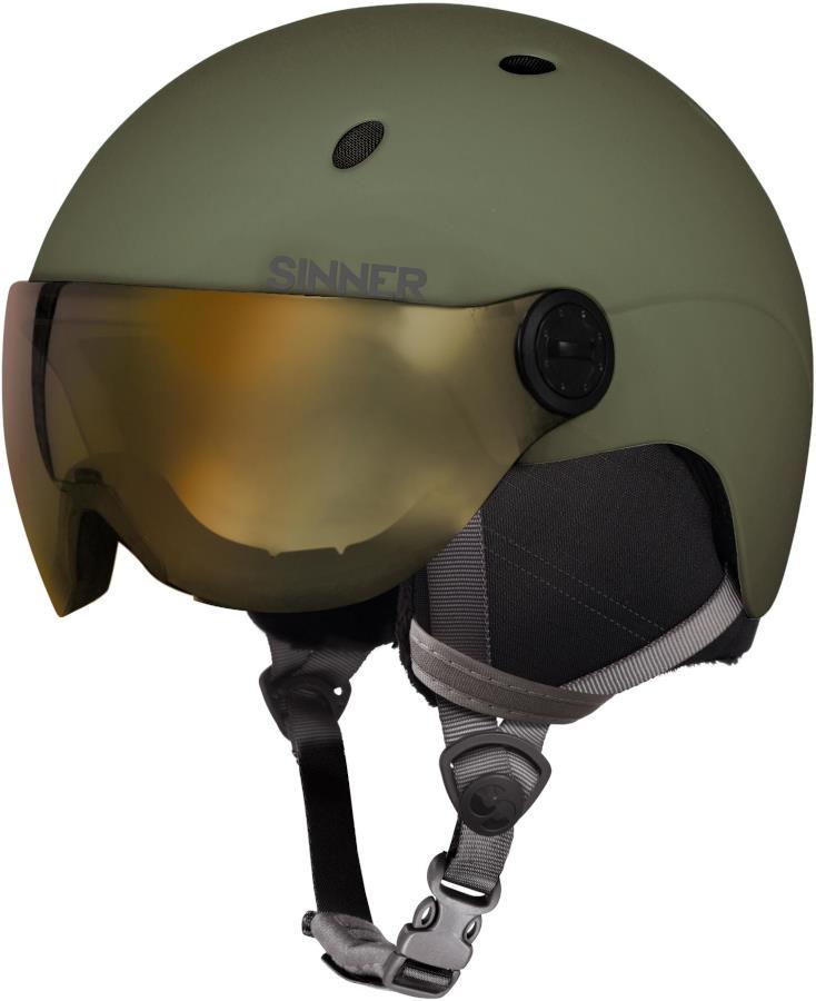 Sinner Titan Visor Gold Mirror Ski/Snowboard Helmet M Moss Green
