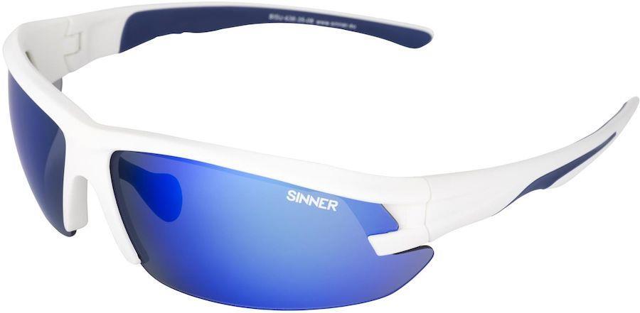 Sinner Speed PC Blue Oil Sports Wrap Around Sunglasses, Matte White