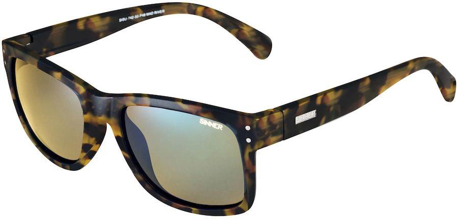 Sinner Mad River Yellow Oil Wayfarer Sunglasses, Matte Brown Tortoise