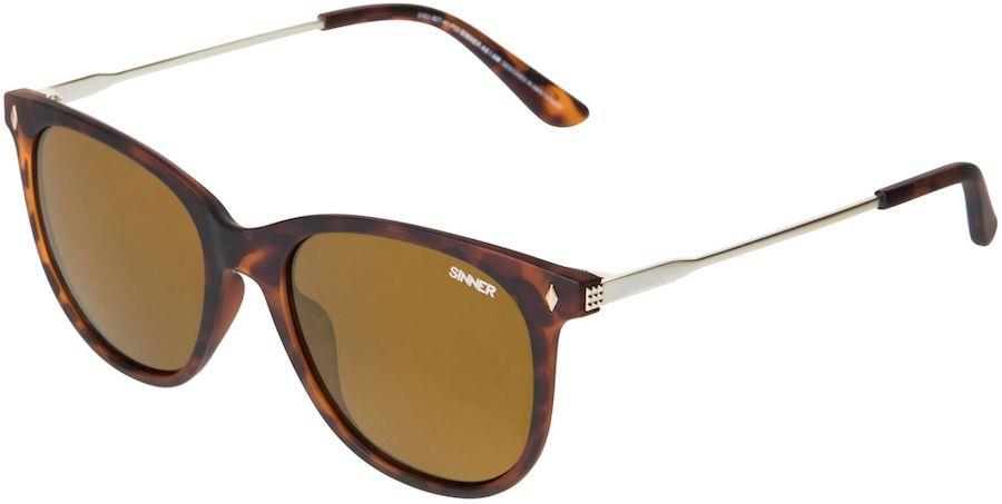 Sinner Jay CX Sintec Brown Gold Wayfarer Sunglasses, M Brown Tortoise