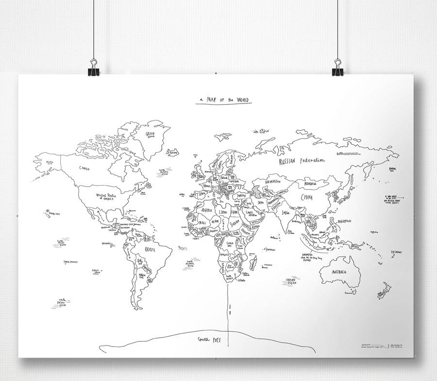 Awesome Maps Sketch Map Illustrated World Wall Map, 70x50cm