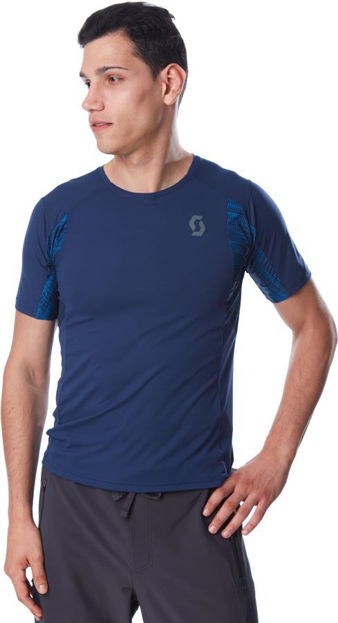Scott Trail Run S/SL Sports/Running T-Shirt, L Midnight Blue/Atlantic