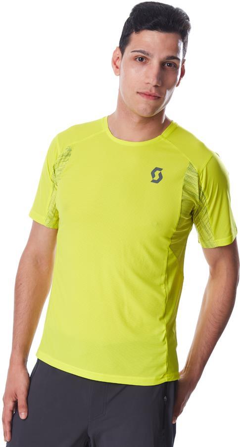 Scott Trail Run S/SL Sports/Running T-Shirt, S Sulphur Yellow/Smoked