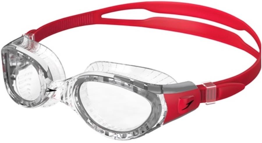 Speedo Futura Biofuse Flexiseal Clear Swimming Goggles, Red