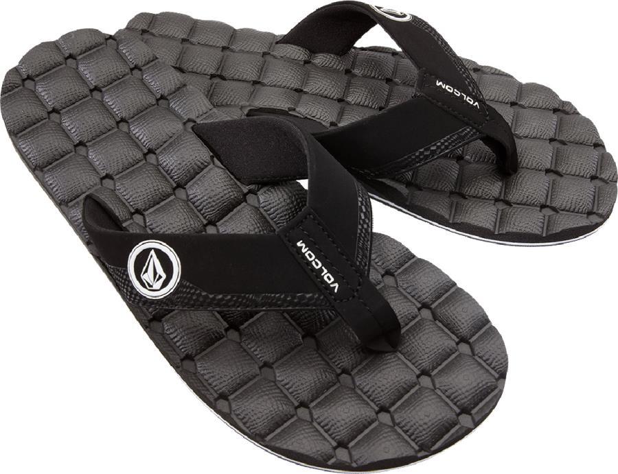 Volcom Recliner Flip Flops Open Toe Sandals, UK 9 Black/White