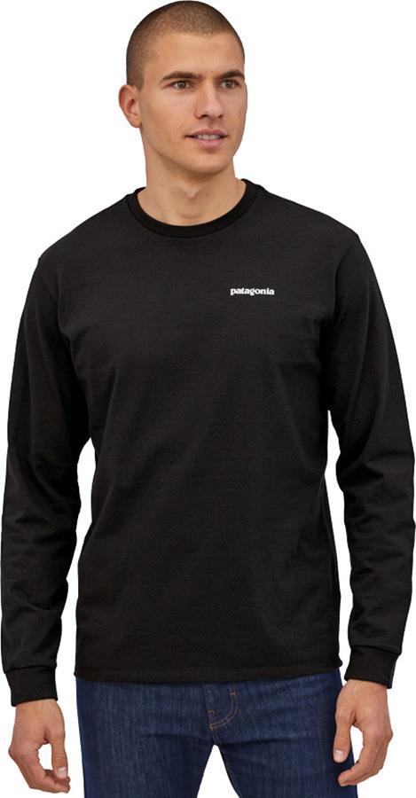 Patagonia L/S P-6 Logo Responsibili-Tee Long Sleeve T-Shirt, S Black