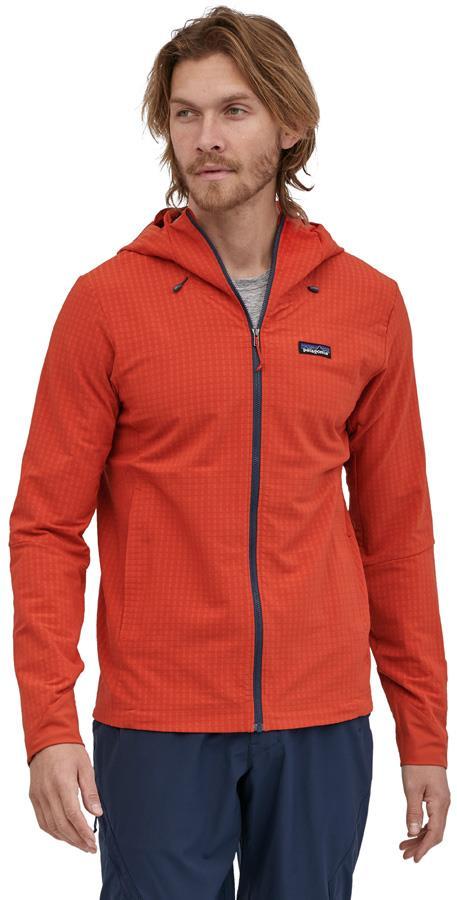 Patagonia Adult Unisex R1 Techface Hoody Softshell Jacket, L Hot Ember
